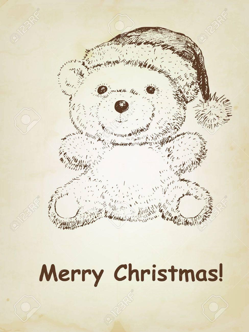 Hand drawn Teddy bear with Christmas hat Stock Vector - 15327087