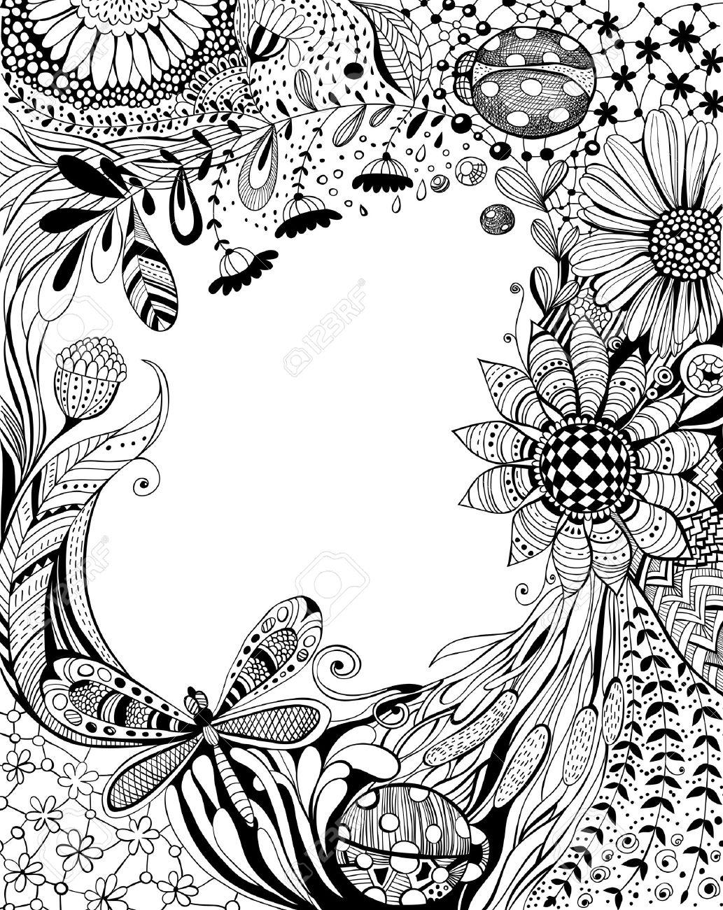 Floral Dessiné Avec Fleurs Décoratives Des Feuilles De Lherbe Libellule Coccinelles Et De Motifs Floraux Et Géométriques Design Noir Et Blanc