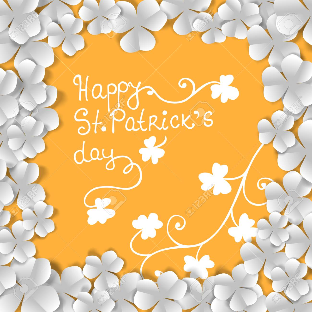 St. Patrick day card, frame made of white paper clovers and floral ornaments on orange background Stock Vector - 25999635
