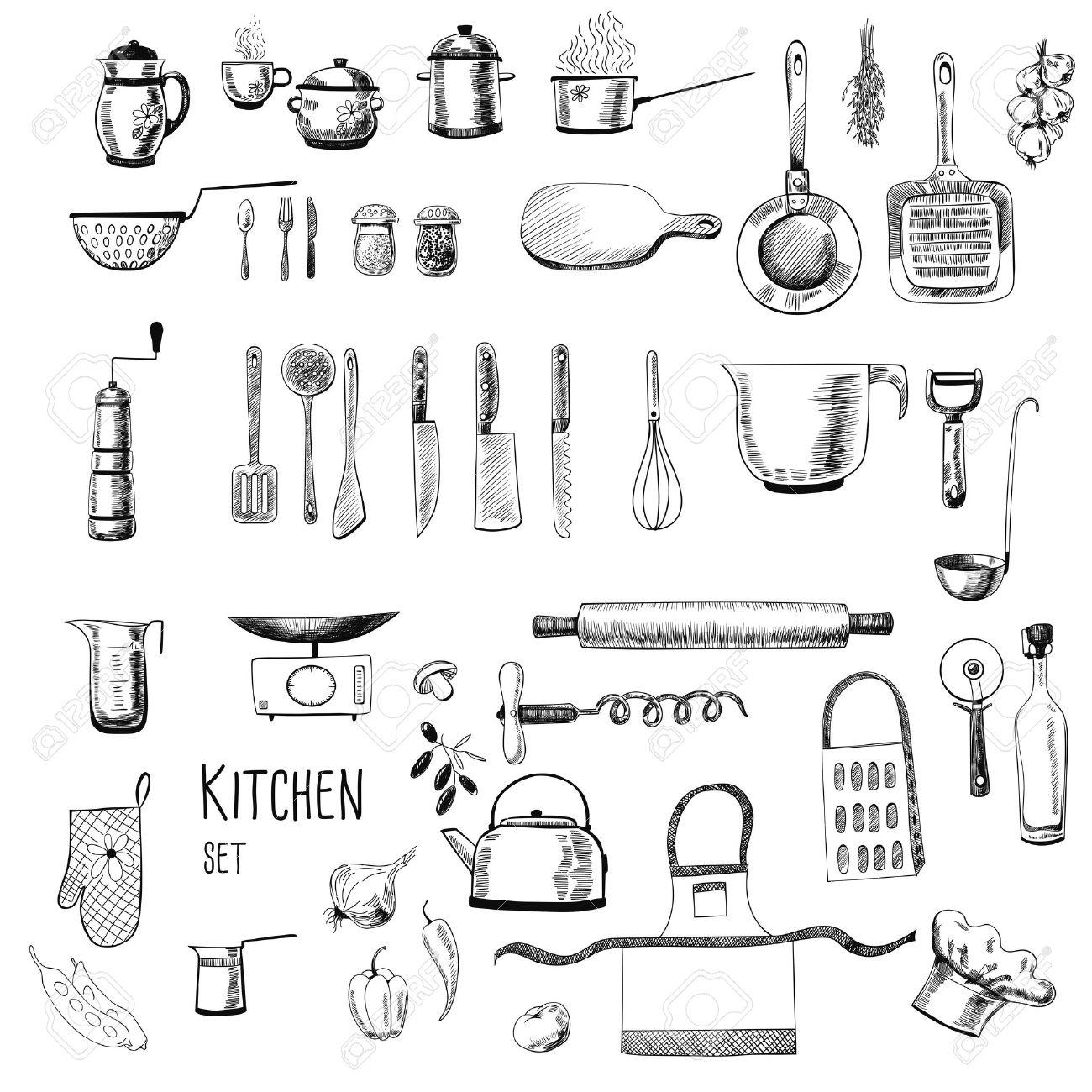 Kitchen Set. Grande Collezione Di Mano - Disegnato Oggetti Di ...