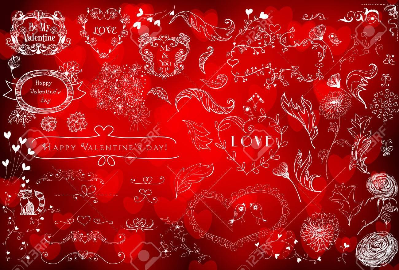 Varios Mano - Dibujado Valentines Elementos De Diseño Día ...