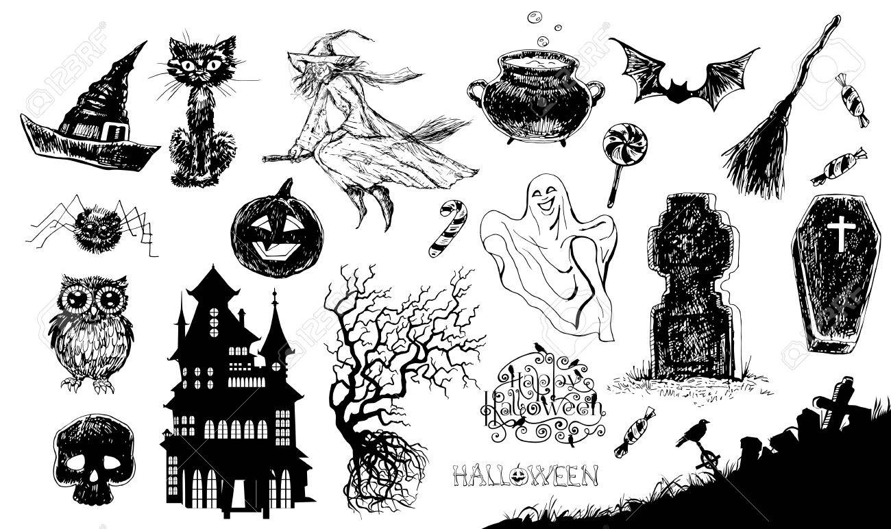Halloween Set. Collection Of Hand- Drawn Halloween Related Items ...