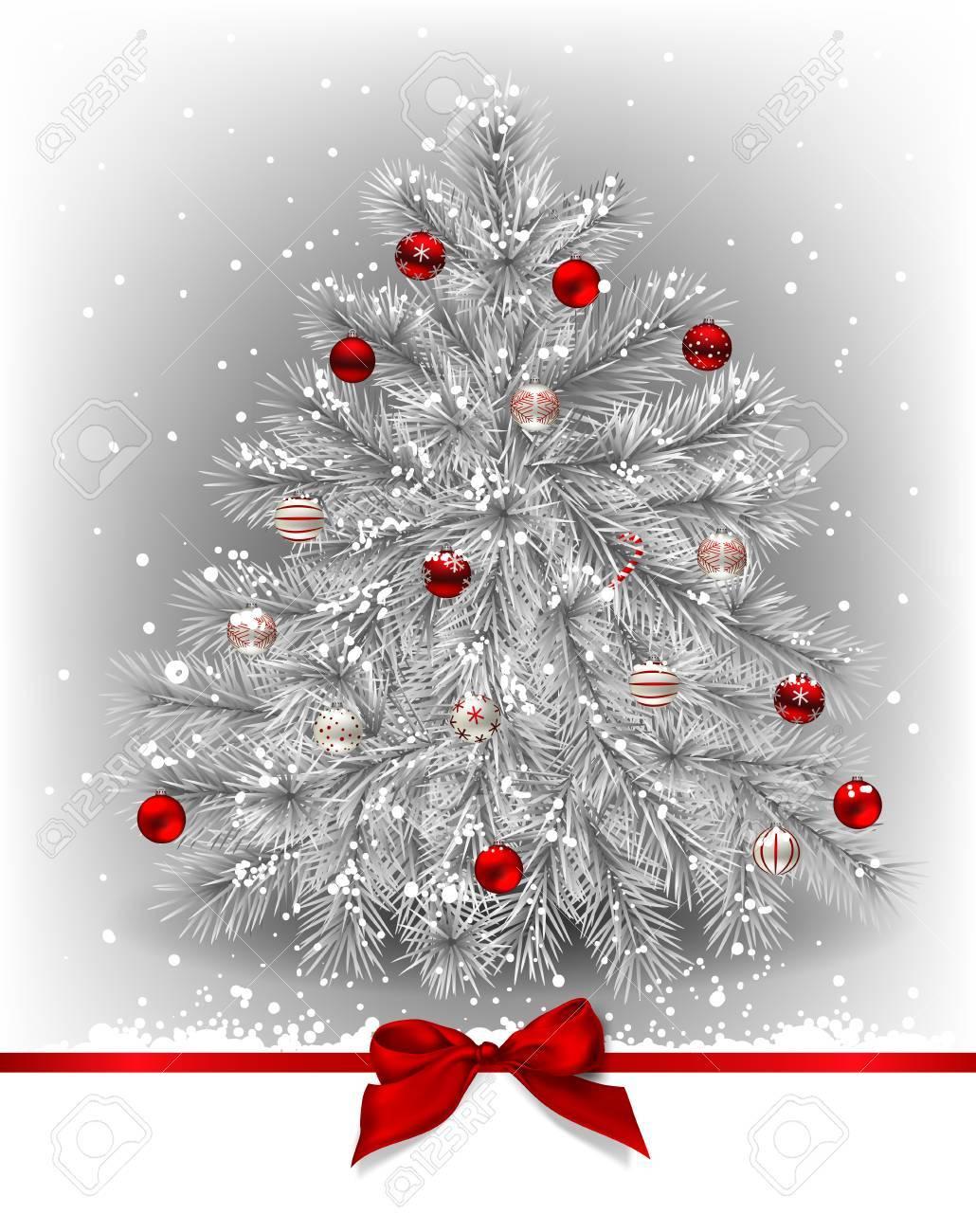 Arbre de Noël. Blanc sapin décoré avec des boules rouges sur fond gris avec  des chutes de neige et arc rouge.