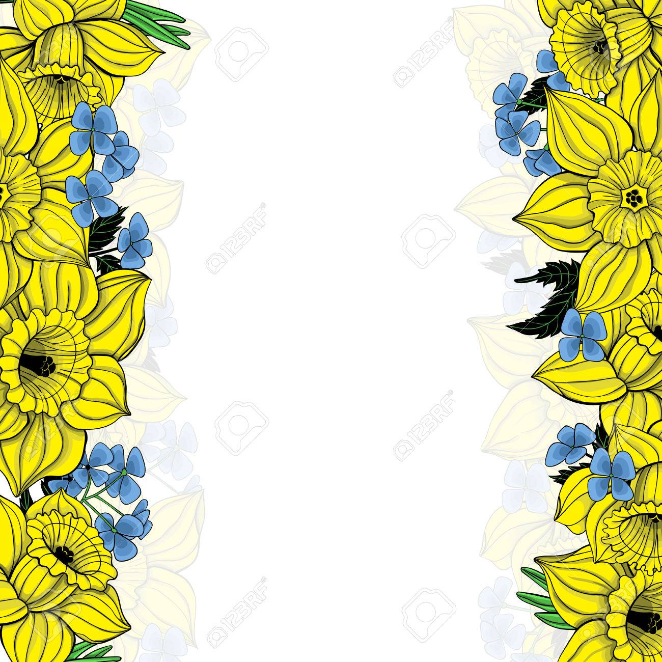 Floral Background With Spring Flowers Daffodils Forming Borders