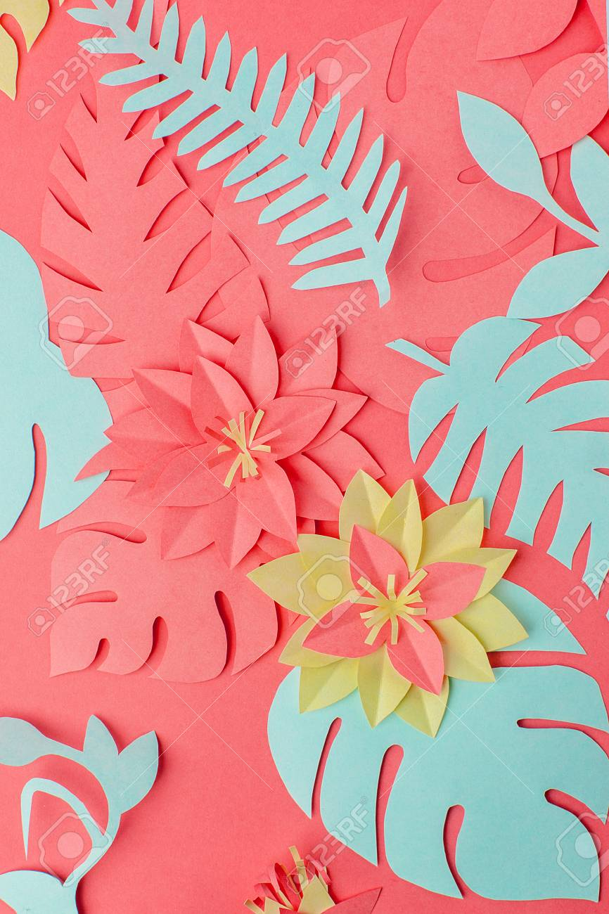 Color Of Year 2019 Living Coral Concept Set Of Origami Papercraft