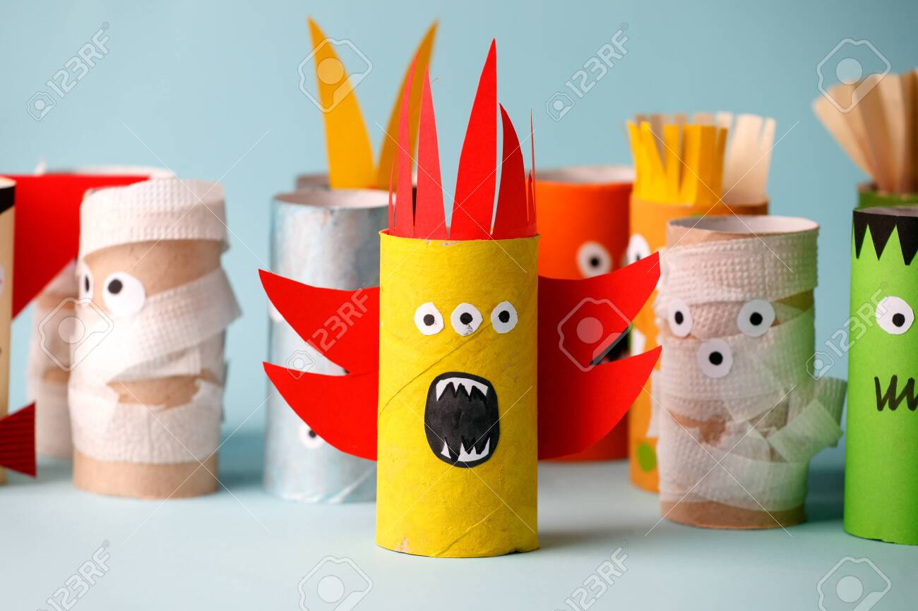 halloween and decoration concept monsters from toilet paper