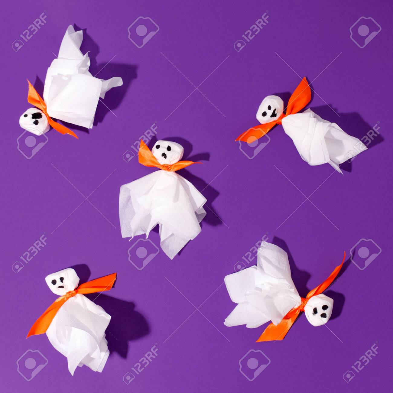 Decoration For Halloween Party Ghosts From Paper Napkin And Stock Photo Picture And Royalty Free Image Image 157103382