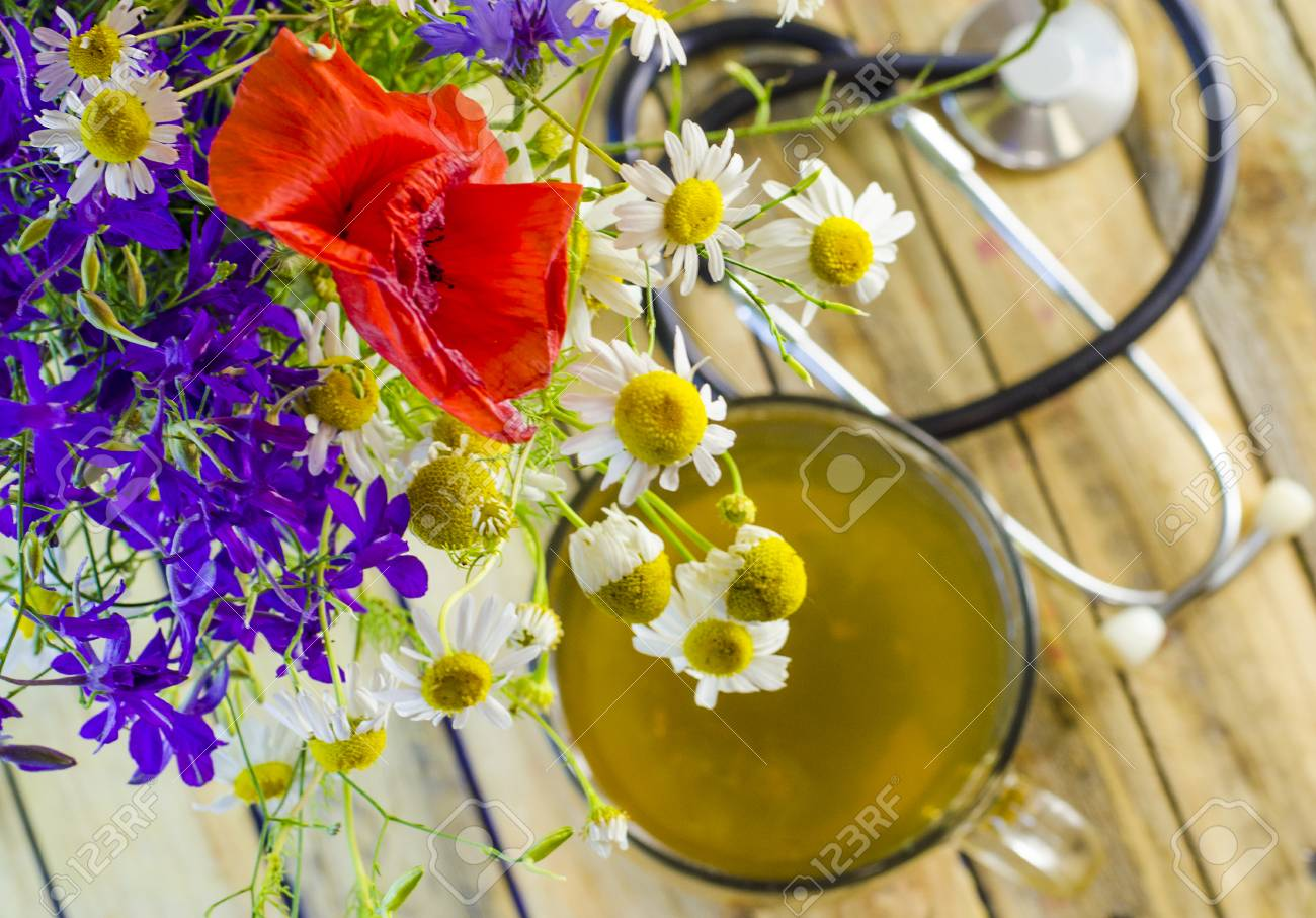 useful and medicinal herbal tea and flowers in a cup stock photo