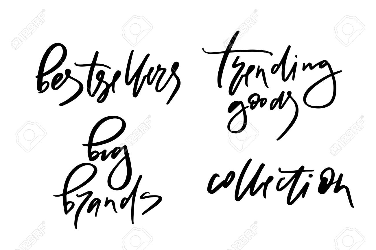 Vector illustration of lettering or calligraphy of words bestsellers