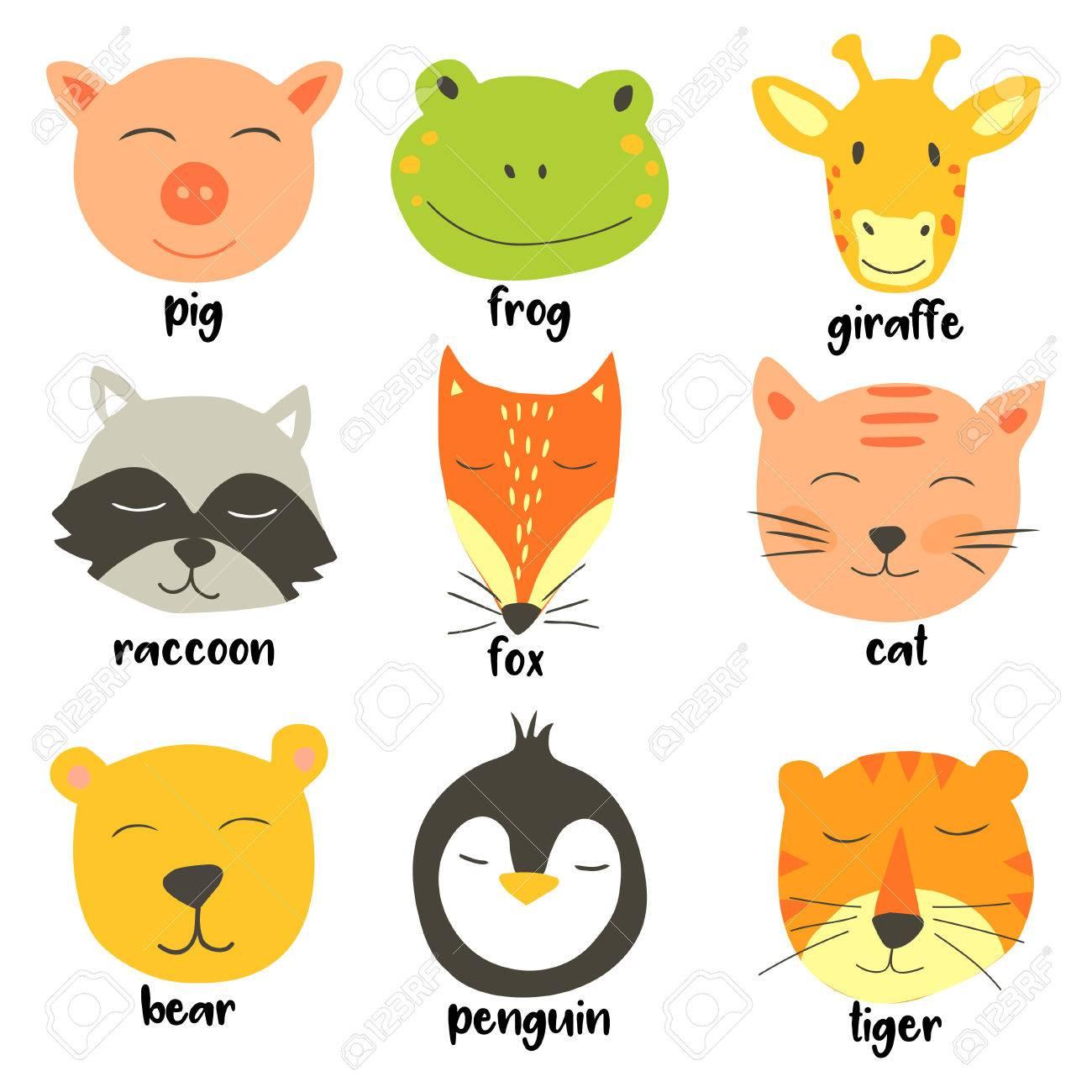 ベクトル動物顔のかわいいイラスト。子供のためのベクター クリップ