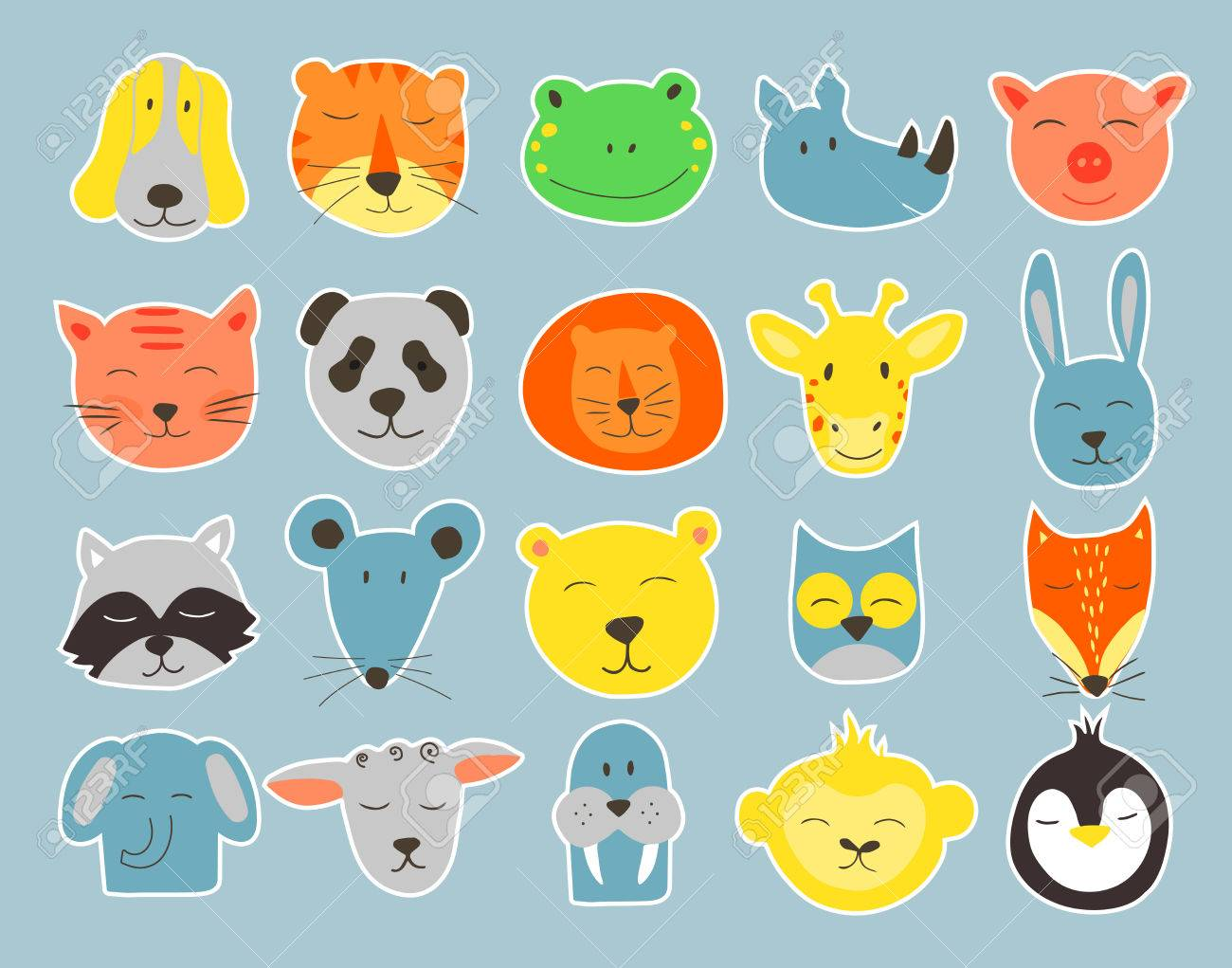 vector cute illustration of animal faces vector clip art for rh 123rf com car stickers clipart travel stickers clipart