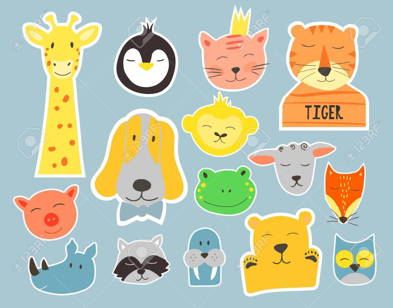 ベクトル動物顔のかわいいイラスト子供のためのベクター クリップ アートバッジとステッカー