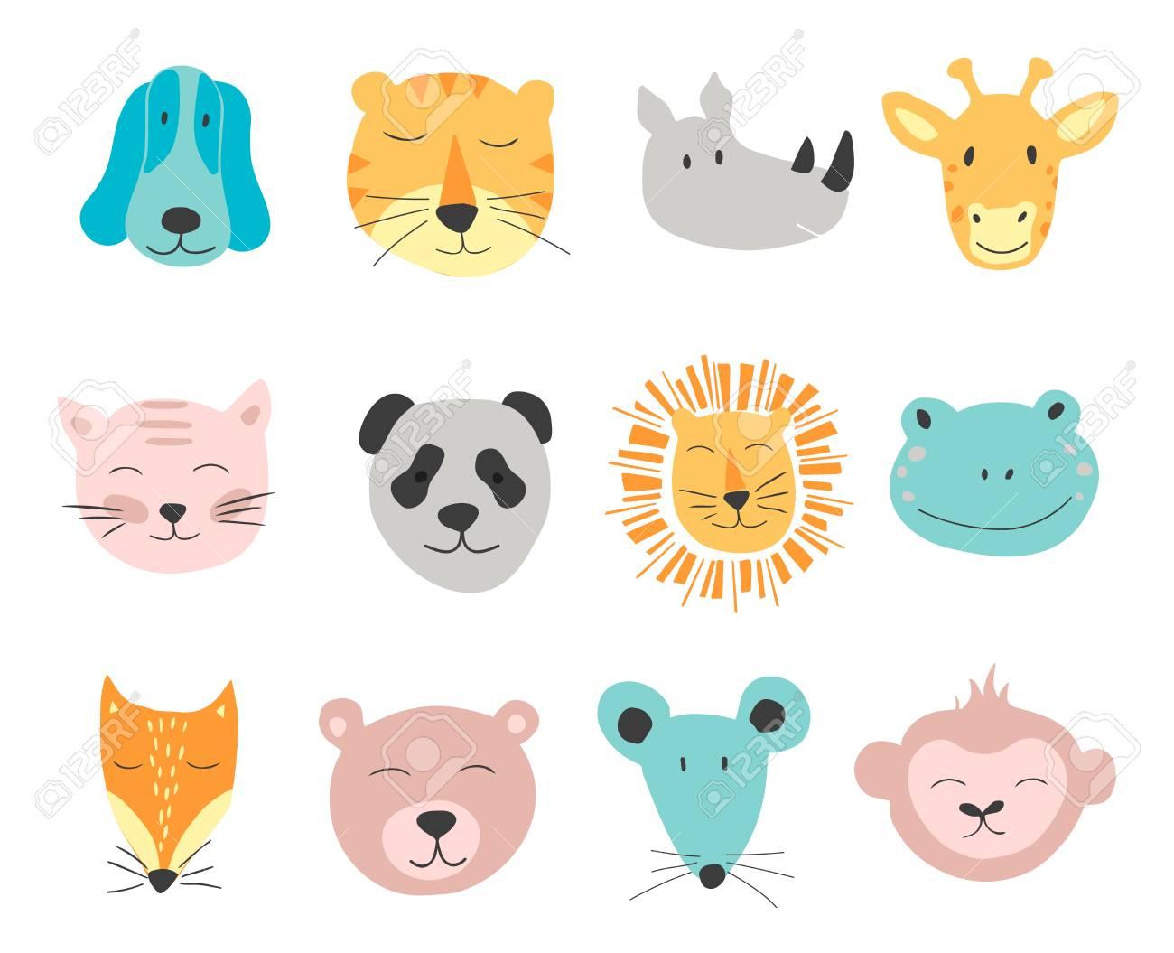 動物の顔のベクトルのかわいいイラスト。子供のためのベクター クリップ