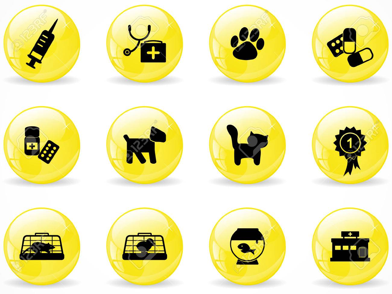 Glossy web buttons, veterinary icons Stock Vector - 8454583
