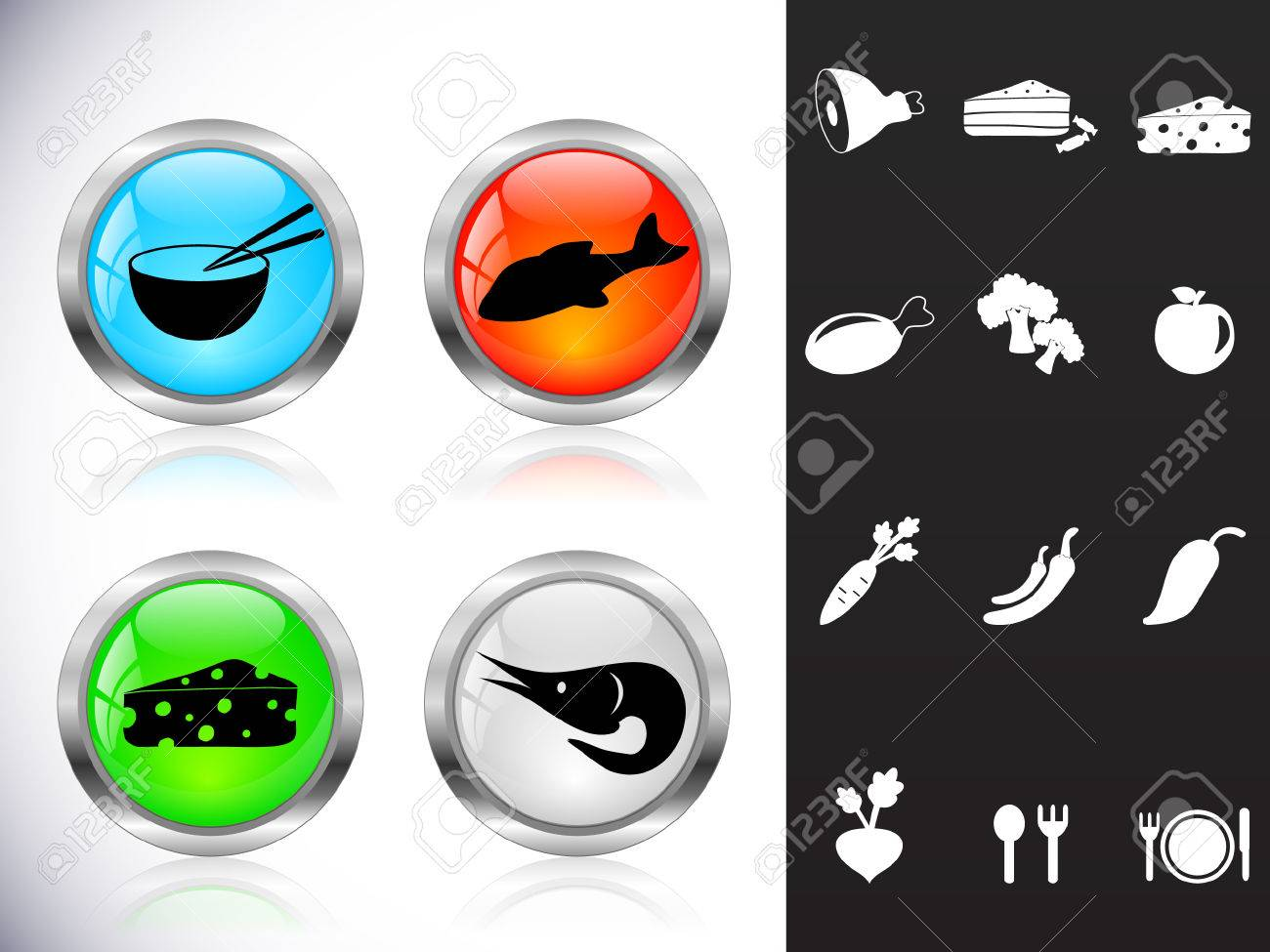 Web metal buttons, food symbols Stock Vector - 8976336