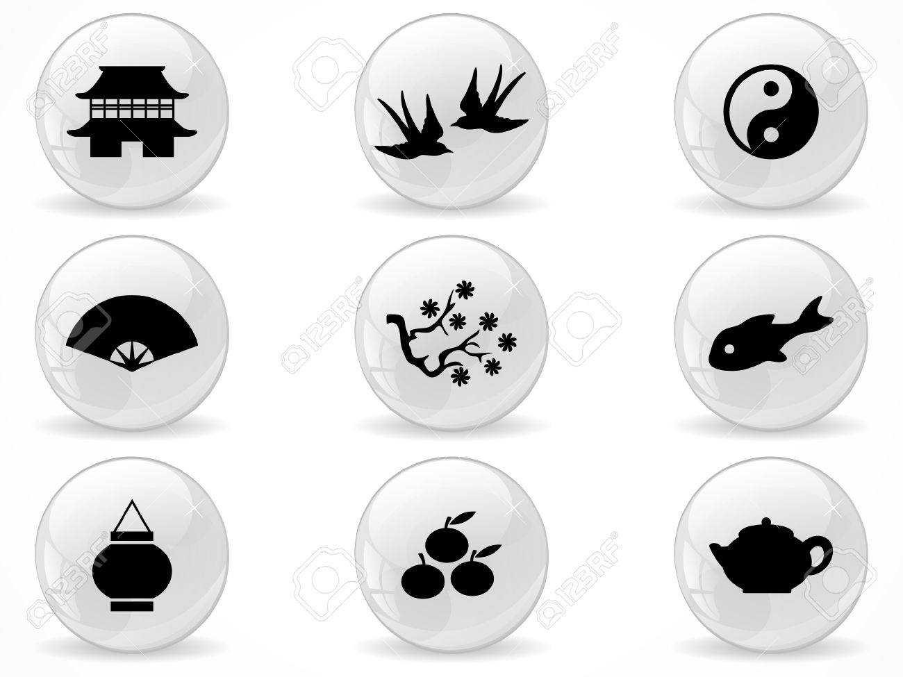 Web buttons, Asian symbols Stock Vector - 9036430