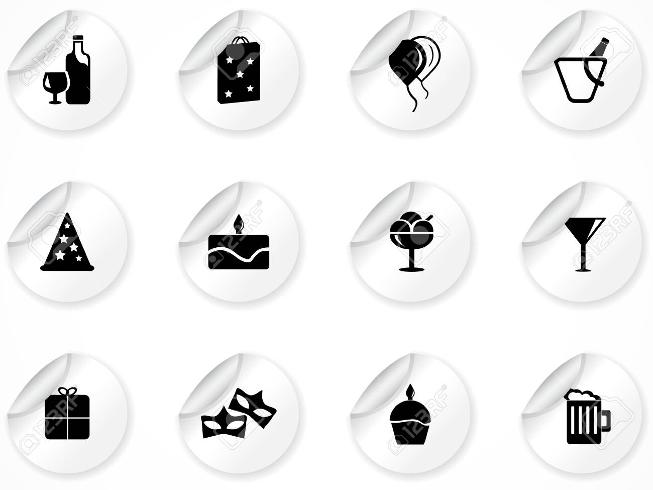Set of stickers with icons Stock Vector - 9116216