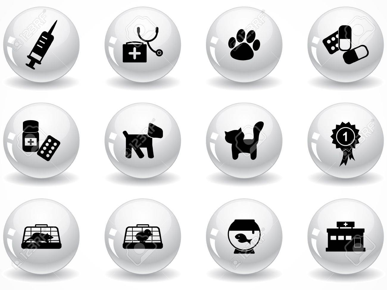 Set of glossy grey buttons with icons Stock Vector - 9162015