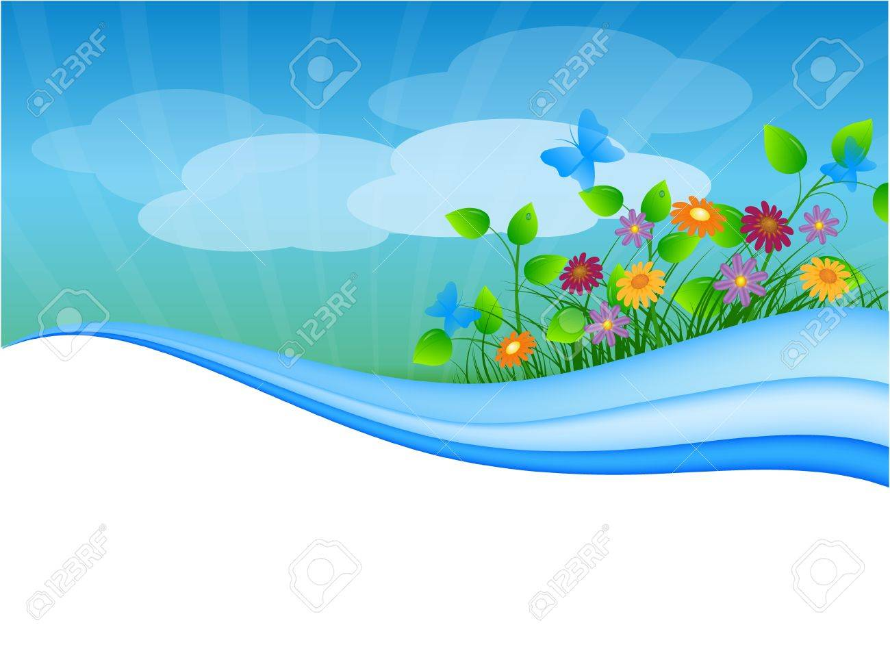 summer meadow background with place for your text Stock Vector - 9687109