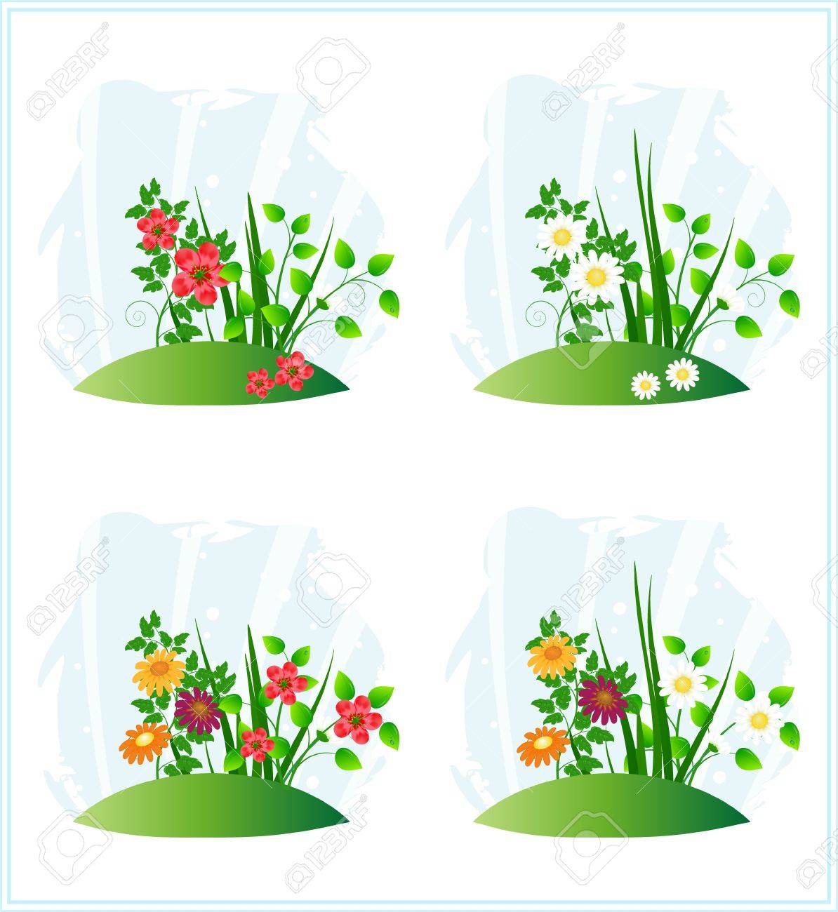 Nature scenes with flowers Stock Vector - 9892817