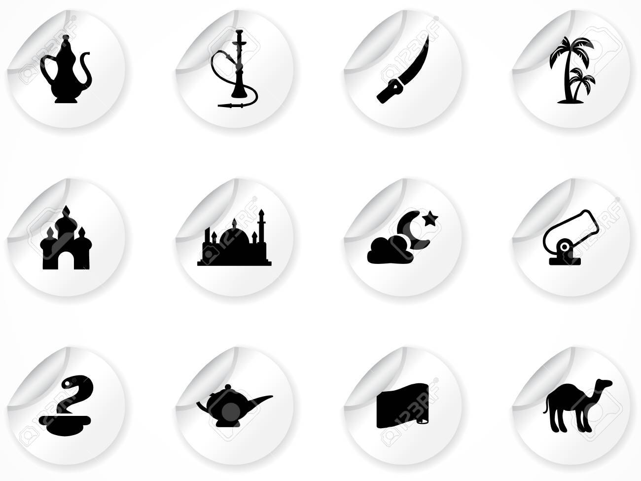 set of stickers with arabic culture icons Stock Vector - 9892823