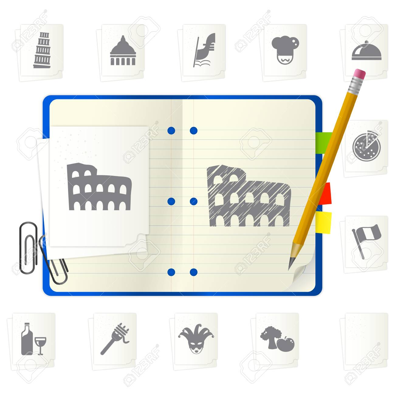 open notepad with different icons Stock Vector - 9892873