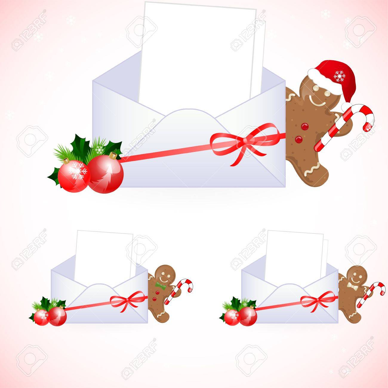 envelopes with christmas decoration Stock Vector - 10834362