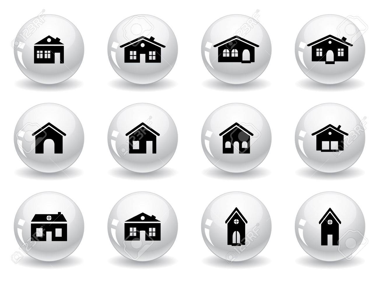 Web buttons, house and buildings icons Stock Vector - 12792075