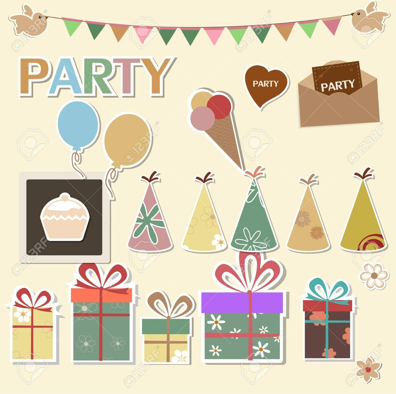 Color party design elements for scrapbook Stock Vector - 13528017