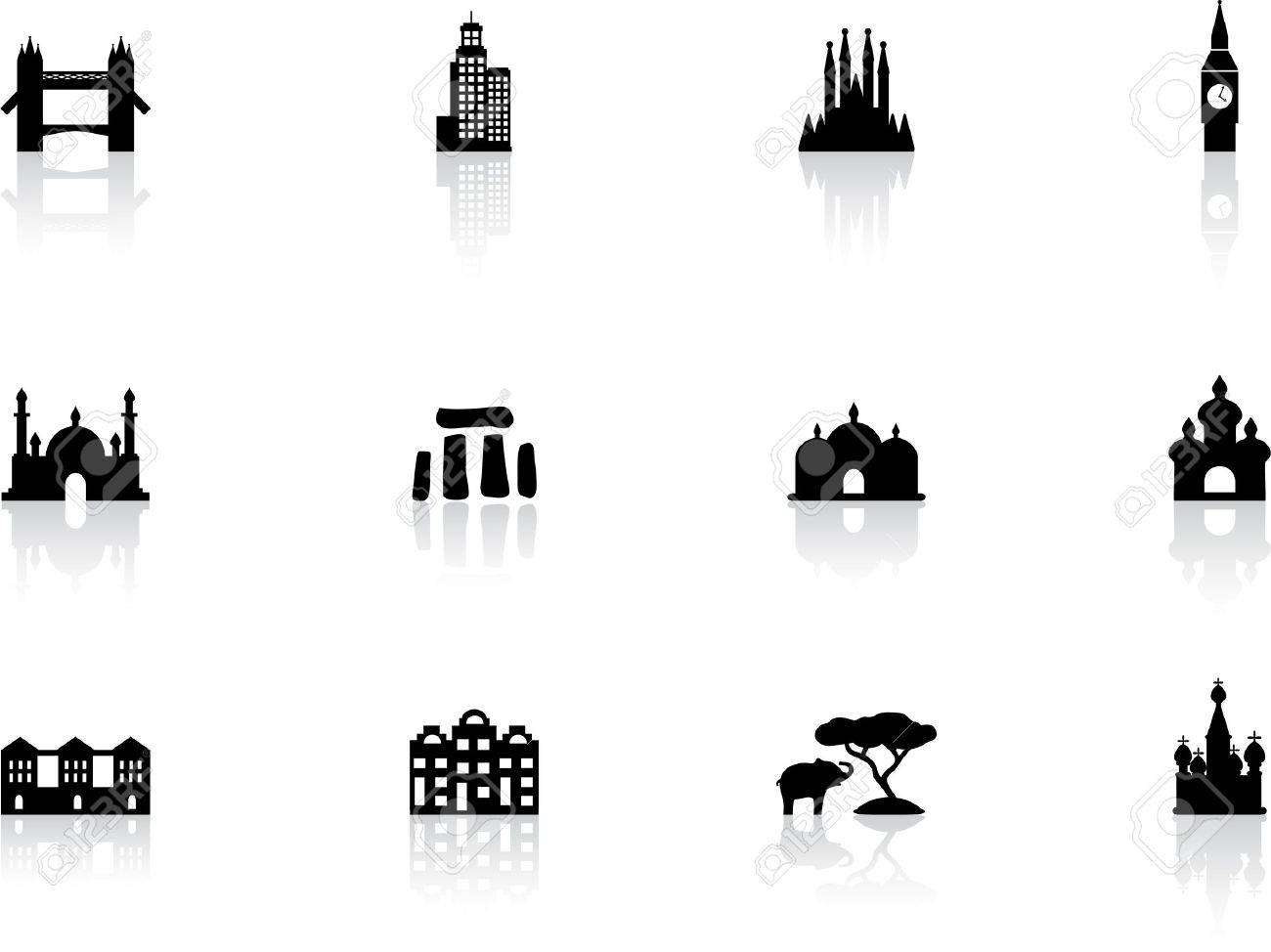 Landmark icons Stock Vector - 13874143
