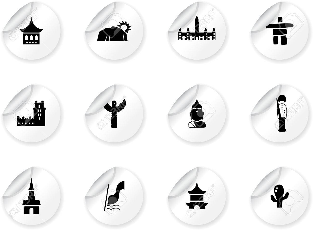 Stickers with landmarks and cultures icons Stock Vector - 14478789