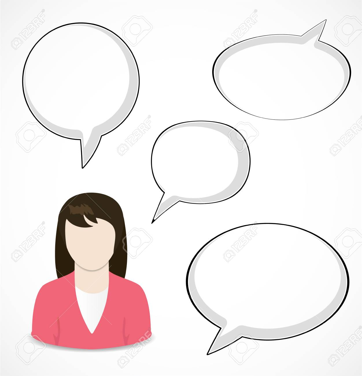 Woman and speech bubbles Stock Vector - 18089300