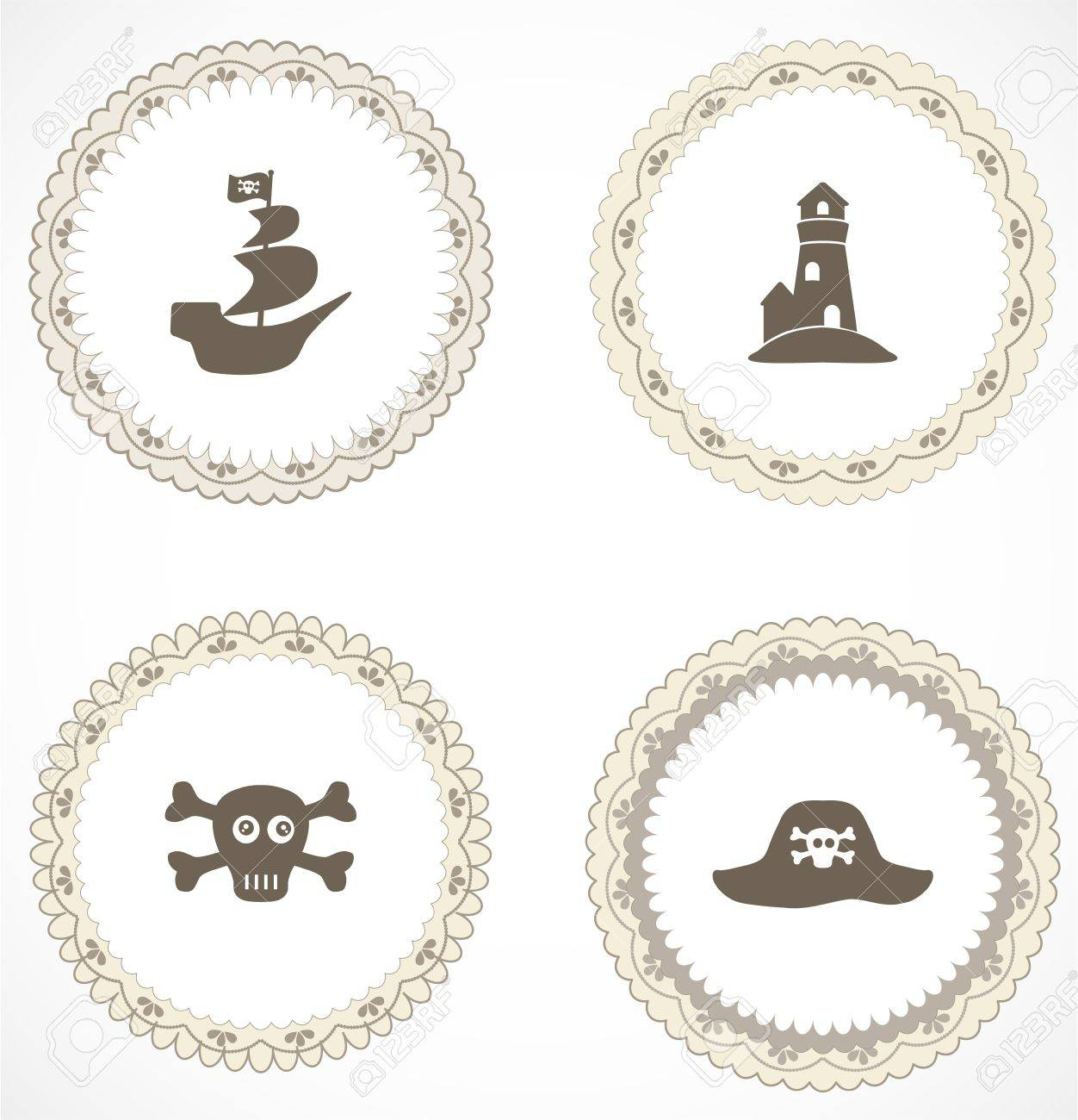 Vintage labels with icons Stock Vector - 18499991