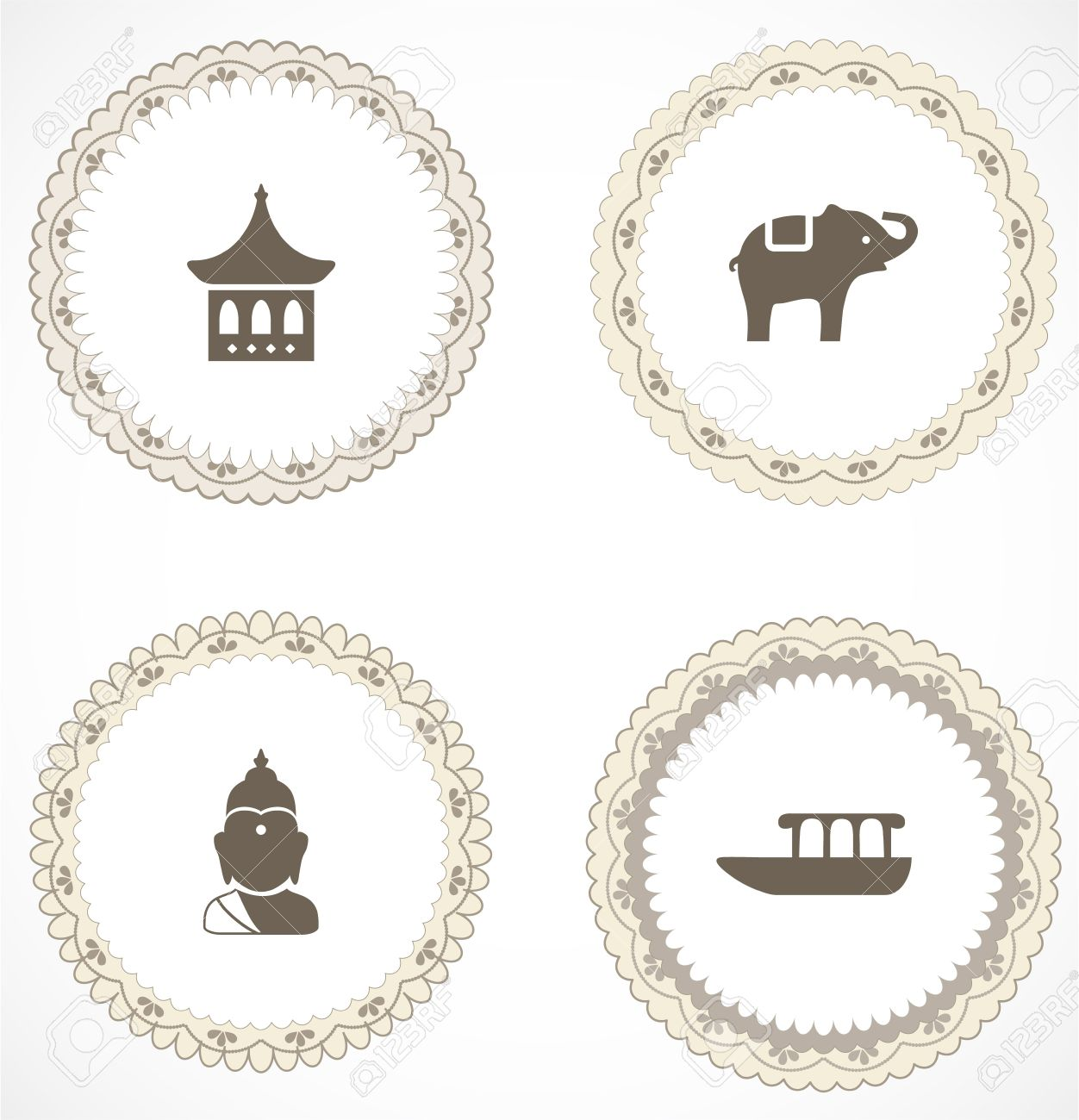 Vintage Labels With Icons Royalty Free Cliparts Vectors And Stock
