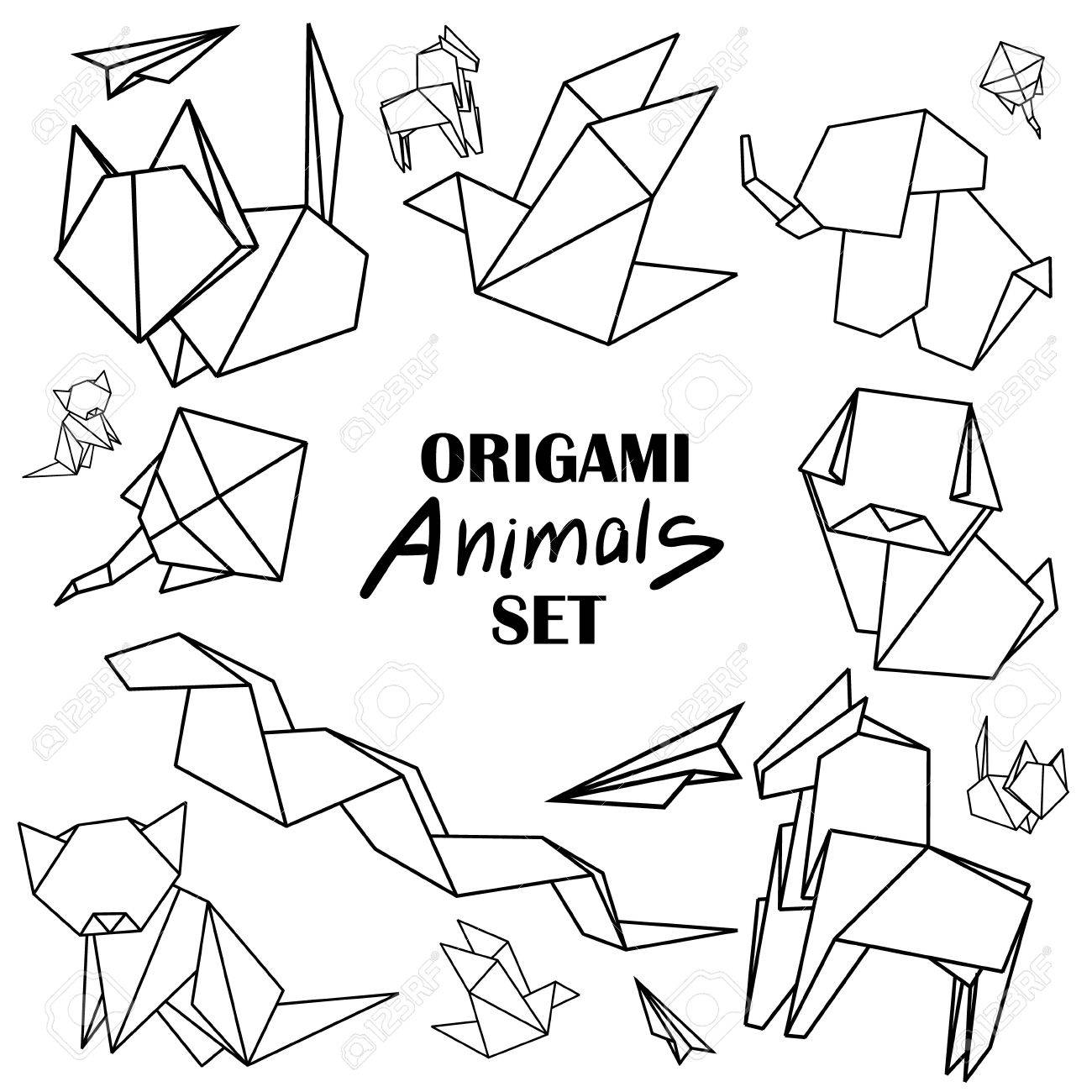 Origami Animals Set From Paper Snake Dog Horse Cat Bird