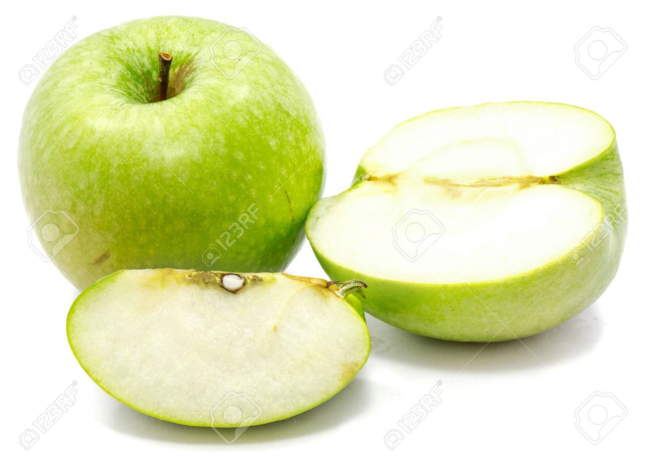 Granny Smith Apples One Whole Sliced And Half Isolated On