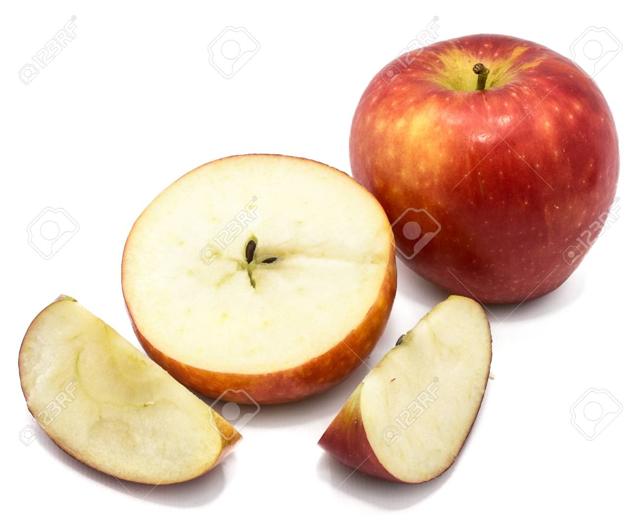Sliced Apples Kanzi One Whole Cross Section Half Two Slices