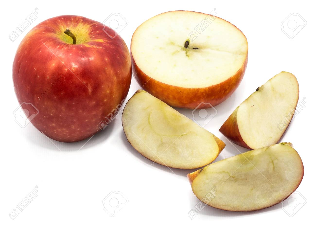 Sliced Apples Kanzi One Whole Cross Section Half Slices Isolated