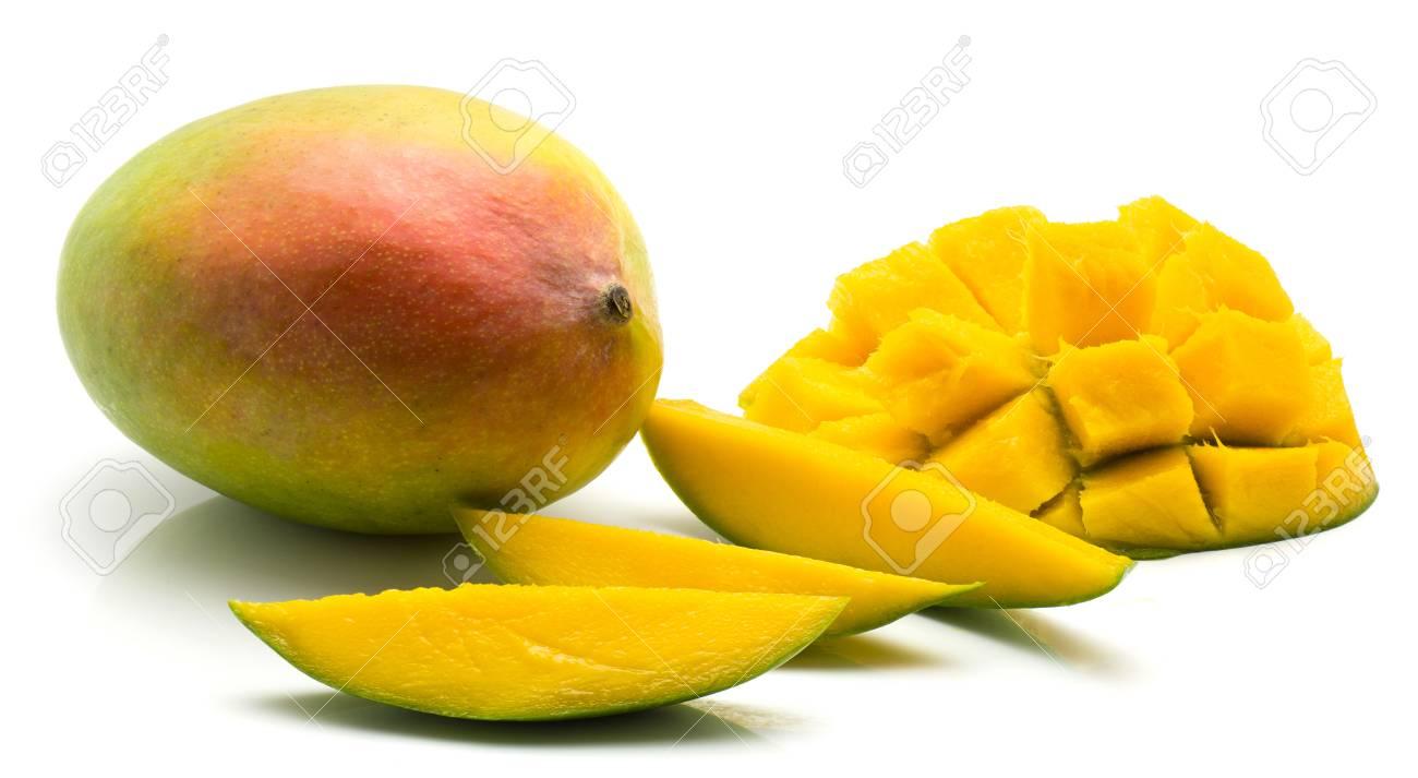 Mango Isolated On White Background One Whole Three Slices And