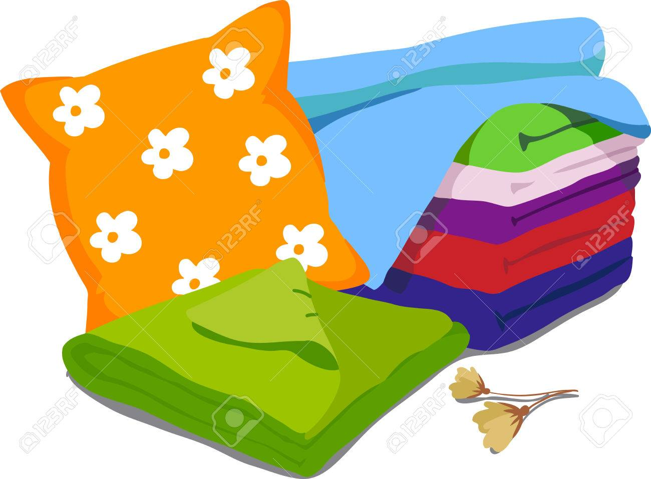 Color Bed Linen. Pillows, Sheets, Blankets. Vector Illustration ... for Pillow And Blanket Clipart  45jwn