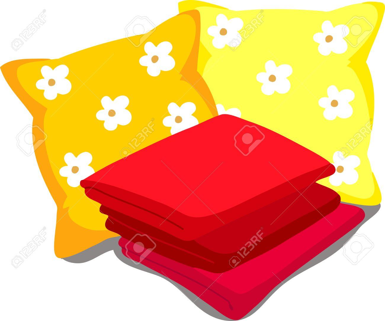 linge de lit dessins animés Couleur Linge De Lit. Oreillers, Draps, Couvertures. Vector  linge de lit dessins animés