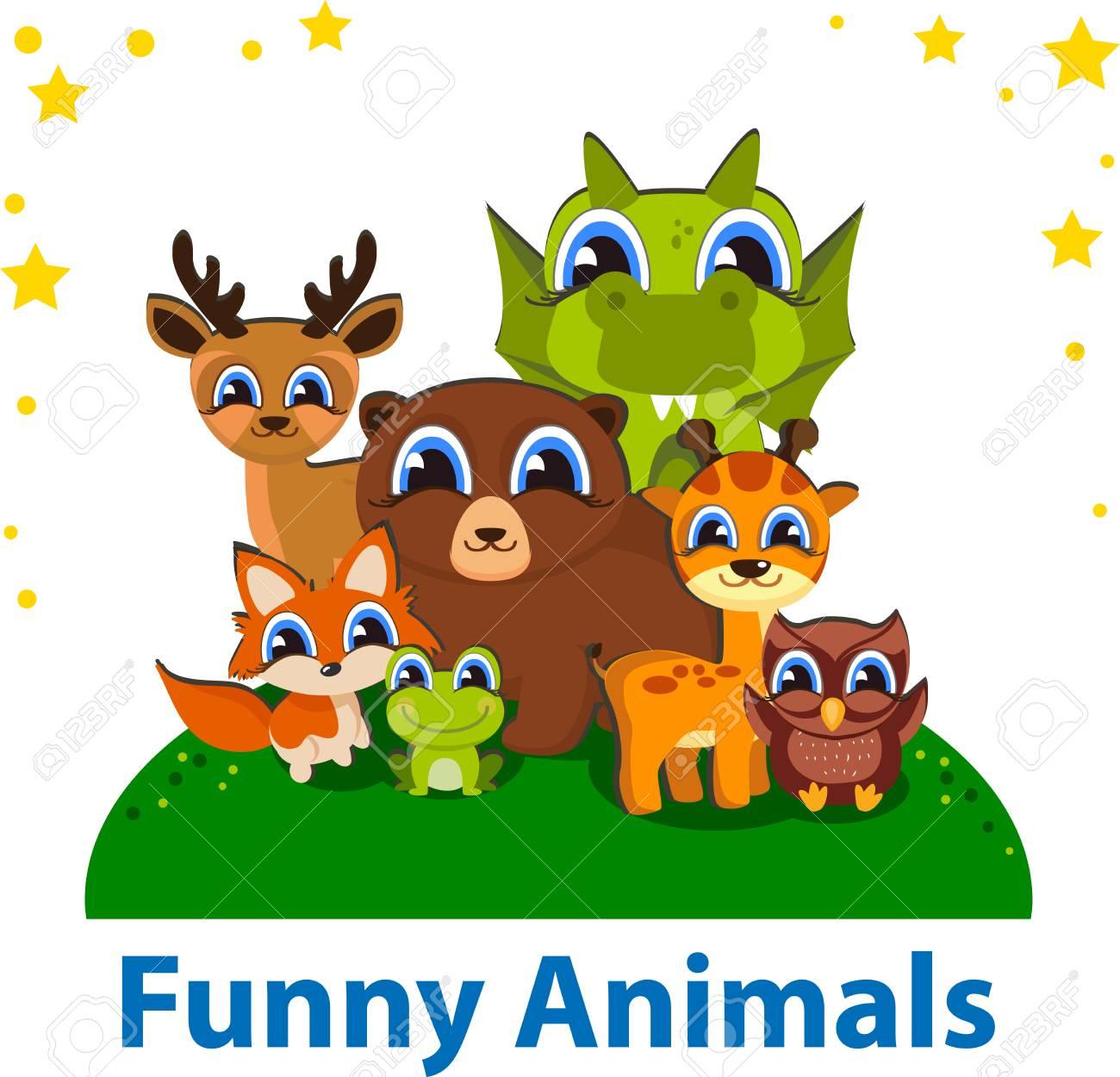 Funny Animals Editierbare Vektor-Vorlage. Ideal Für Kinder, Für Das ...