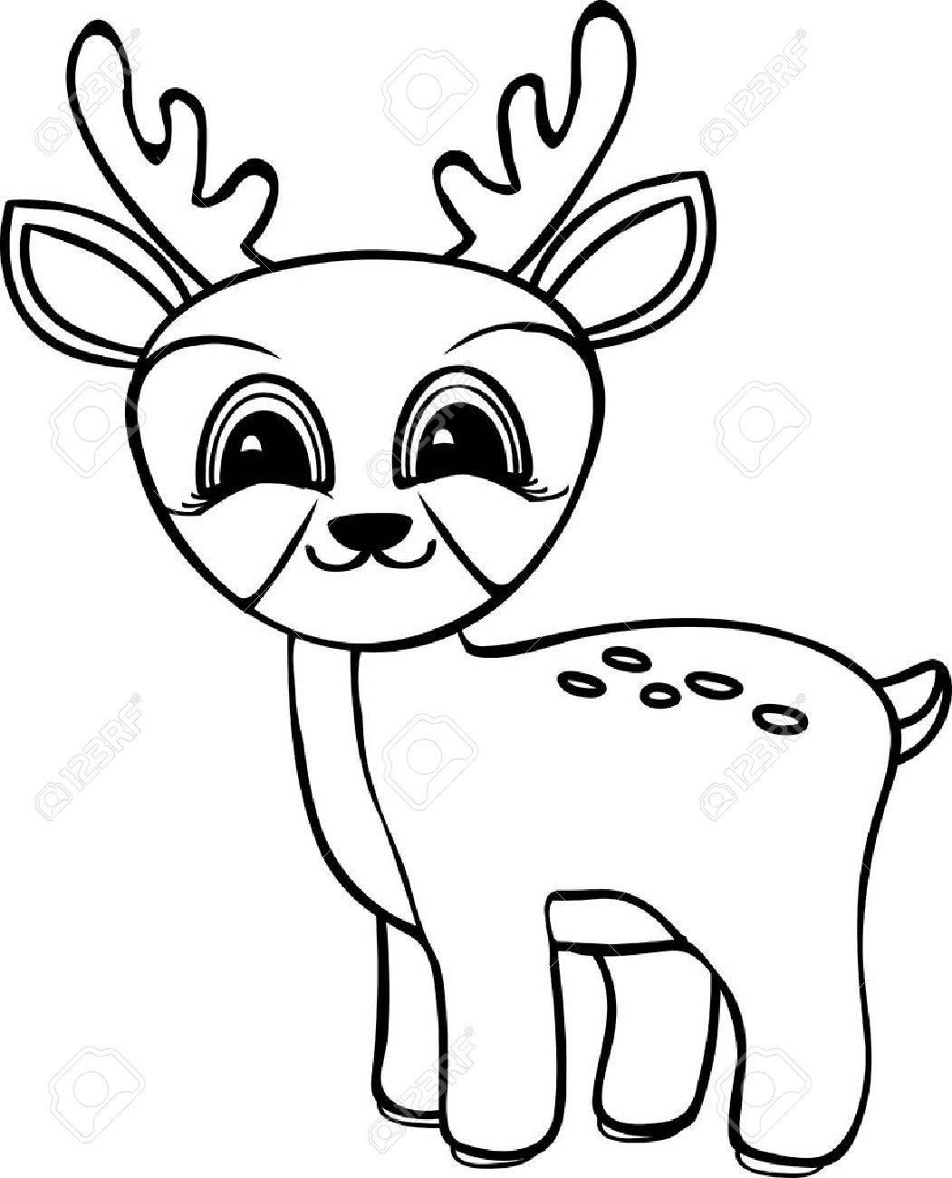 Divertida Ciervos Bebé De Dibujos Animados Páginas Para Colorear Vector Blanco Y Negro Ilustración