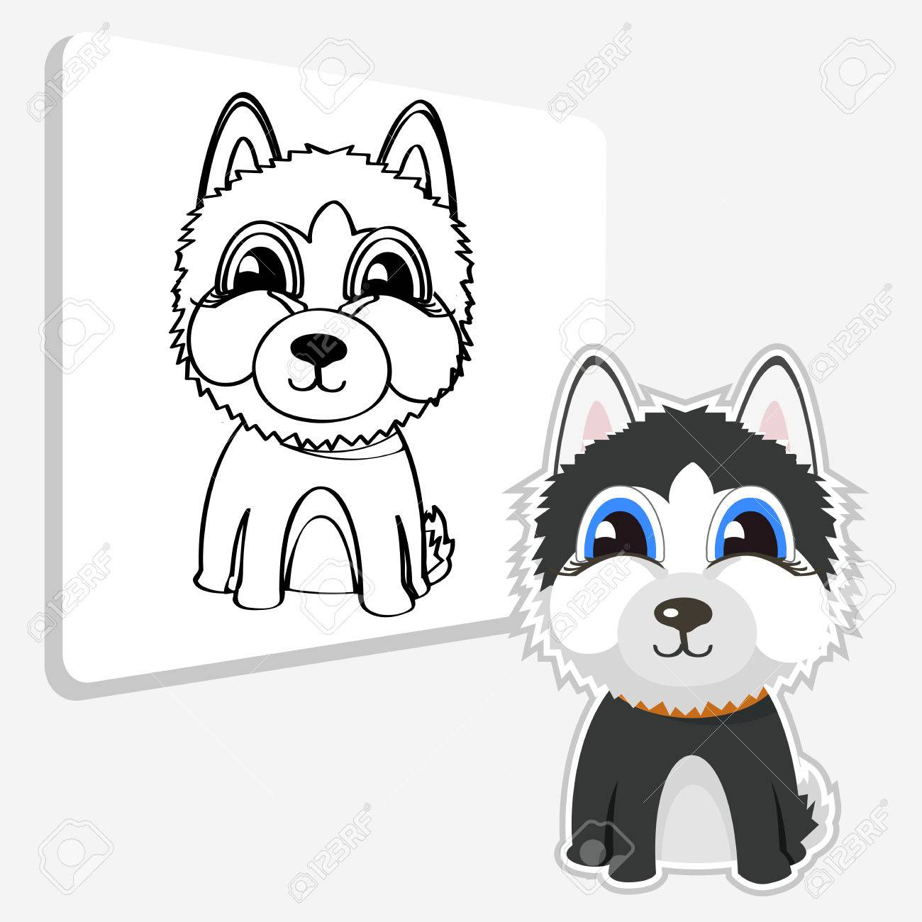 Siberian Husky. Vector Illustration And Coloring Page Royalty Free ...