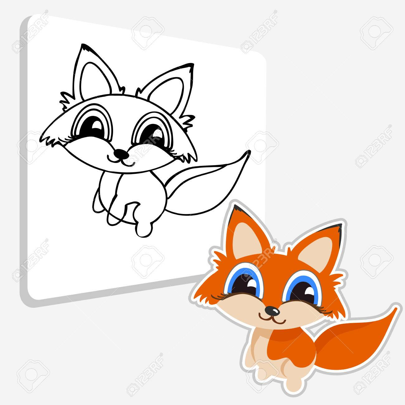 Coloring Pages. Baby Fox Coloring Page. Restore The Picture Inside ...