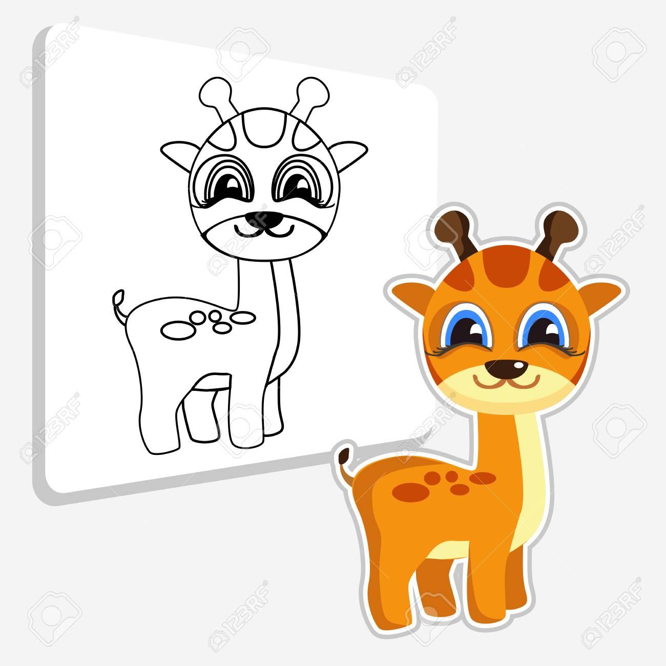 Coloriage En Ligne Educatif.Couleur De Dessin Anime Stylise Girafe Illustration Et Dessin Ligne Noire Et Blanche Jeu Educatif Livre De Coloriage Pour Les Enfants