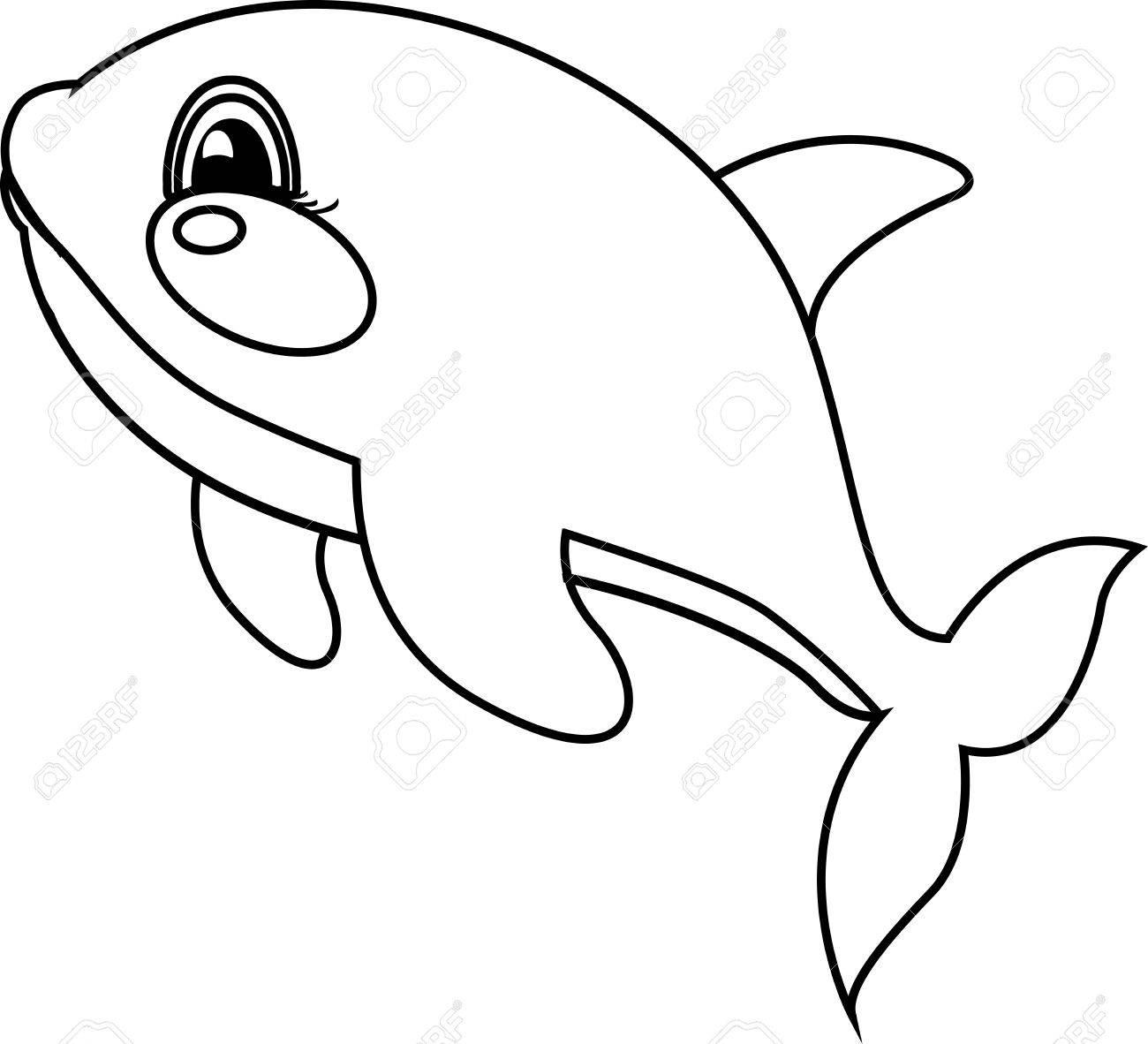 Orca Saltando Fuera Del Agua. Libro De Colorear. Juego Para Los ...
