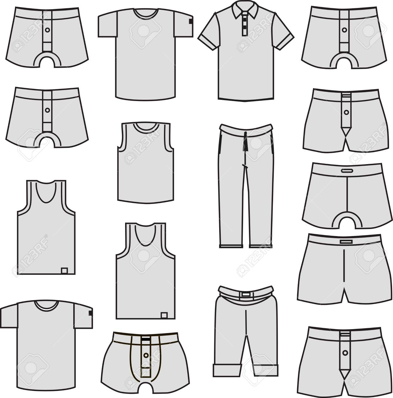 49f6c4de766a underwear for men. Template gray clothes icons isolated on white background  Stock Vector - 67424492