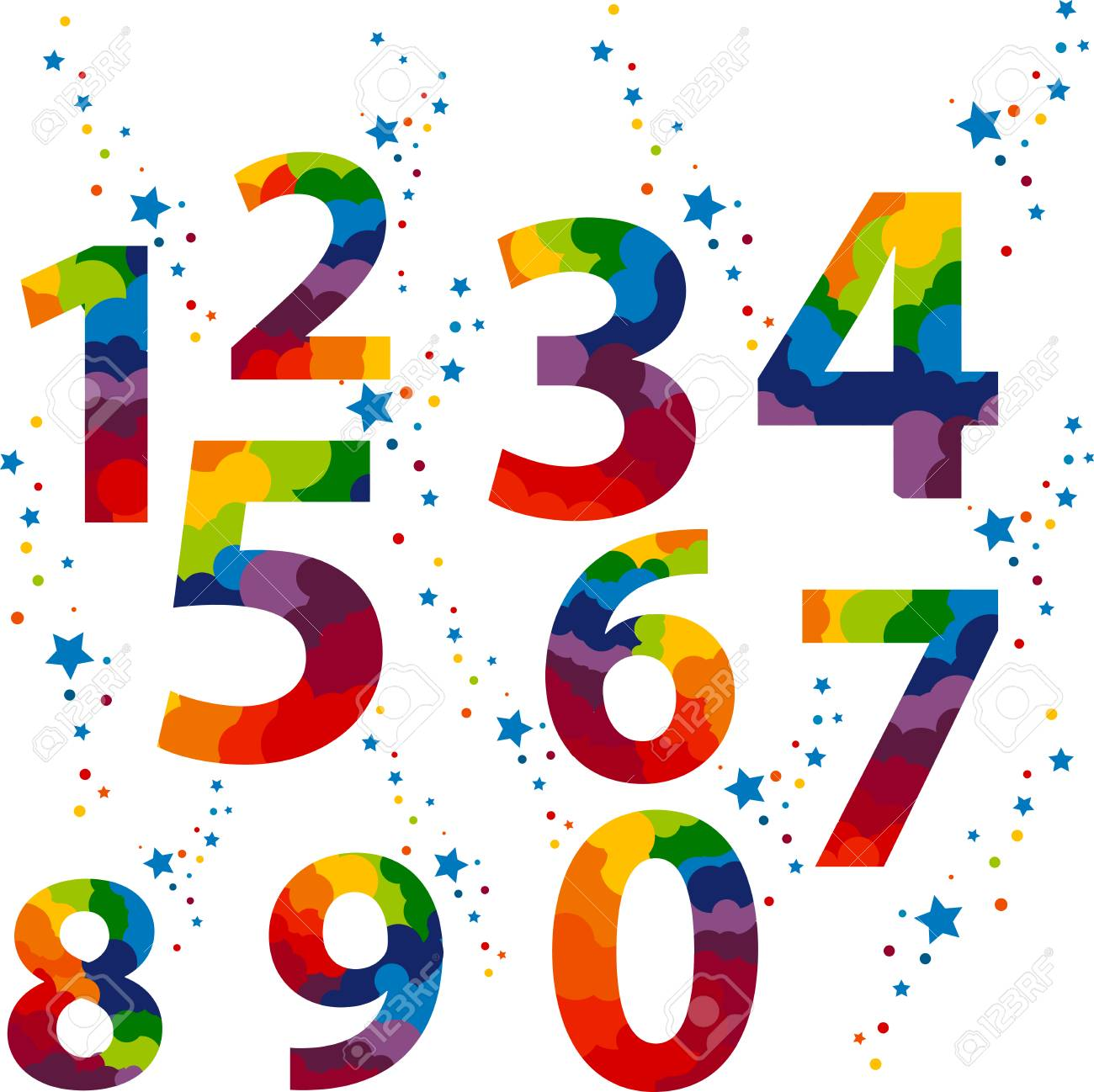 Numbers set colored idea numerals typography design element numbers set colored idea numerals typography design element for wedding invitation mathematics logo symbols biocorpaavc Image collections