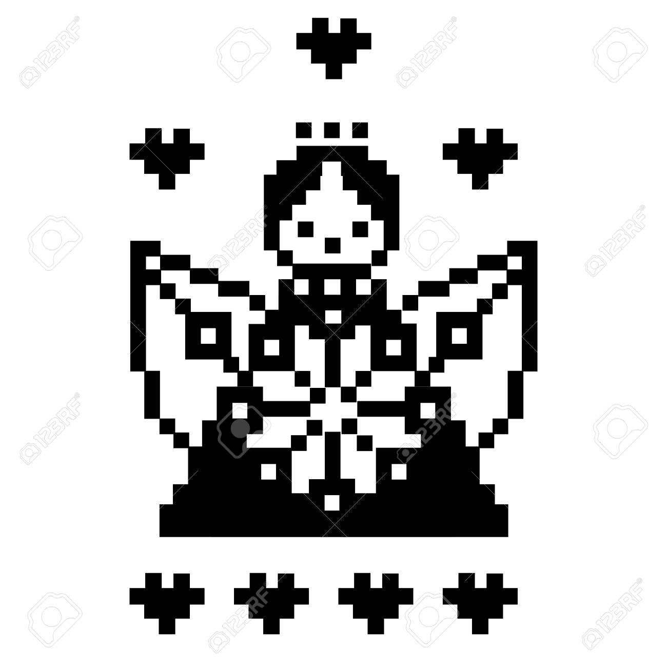 Angel Pixel Art Template For Cross Stitching Amour Angel Vector Royalty Free Cliparts Vectors And Stock Illustration Image 69775307